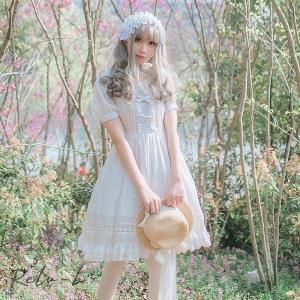 ロリータ Lolita レディースリソッドカラーワンピース 夏 半袖 リボン 帯 姫系 オリジナル コスプレ衣装 ホワイト ブラック|otto-shop