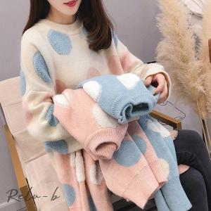 丸首 プルオーバー セーター 水玉  かわいい 長袖 甘いセーター 秋冬物 着やせ 上質感 簡単に シンプル 伸縮性 レディース ニット ゆったり トップス otto-shop