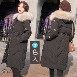 レディース 中綿コート 中棉ジャケット 中棉アウター  ミツバチの刺繍 可愛い 冬 新作 防寒着 大きいサイズ ロング丈 暖かい フード付き|otto-shop
