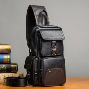 ボディバッグ メンズバッグ ミニショルダー レザー 斜め掛け 軽量 手提げ 小物収納バッグ お出かけ 牛革 ブラウン系 3way|otto-shop