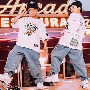 キッズ ダンス衣装 HIPHOP ヒップホップ キッズダンス衣装 セットアップ トップス デニムパンツ ズボン 子供 男の子 女の子 ステージ衣装 練習着|otto-shop