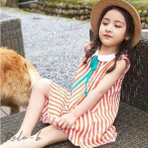 子供服 ワンピース 韓国子供服 女の子 ワンピース 膝丈 キッズ ノースリーブ ドレス ストライプ 可愛い 夏服 通学着/通園着|otto-shop