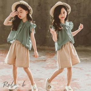 子供服 セットアップ キッズ 韓国子供服 女の子 上下セット 2点セット トップス 無地 半袖Tシャツ ショートパンツ 短パン 春夏 通学着 通園着|otto-shop