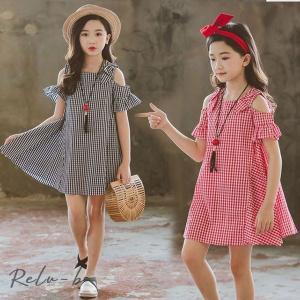 子供服 ワンピース 韓国子供服 女の子 ワンピース 膝丈 肩出しワンピース チェック柄 ベビー ワンピース ドレス キッズ 可愛い 夏服 通学着/通園着|otto-shop