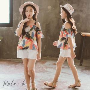 子供服 セットアップ 夏 女の子 キッズ 韓国子供服 上下セット 2点セット 花柄 トップス 半袖 肩出し ボトムス 短パンツ 可愛い おしゃれ 通学着 通園着|otto-shop