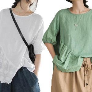 3色!トップス レディース 5分袖  無地 刺繍  夏 大きいサイズ 韓国風 Tシャツ 薄手 きれいめ おしゃれ 30代 40代 ママ 体型カバー|otto-shop