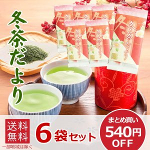 煎茶 冬茶だより 中蒸し煎茶  6袋セット まとめ買い 540円OFF  冬 季節 数量 限定 お茶 otyashizuoka