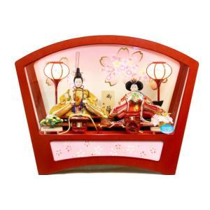 雛人形 桜雅作 「花扇」御雛 親王二人 アクリルケース飾り 33226