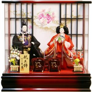 雛人形 久月 立雛 親王二人 アクリルパノラマケース飾り 65729