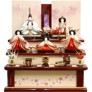 雛人形 久月作 束帯十二単衣姿 刺繍 ハーバリウム よろこび雛 五人 三段飾り S-3112