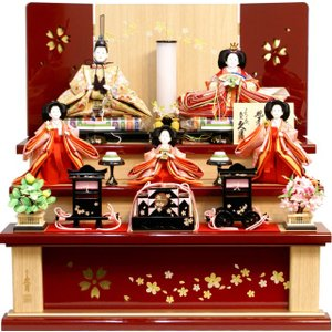 雛人形 久月作 束帯十二単衣姿「よろこび雛」 五人 三段飾り S-3212