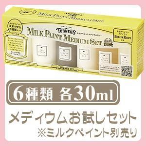 ターナー色彩 ミルクペイント メディウムセット 各30mL 6種類 水性塗料 お試しミニボトル 画材