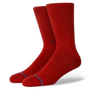 STANCE SOCKS MENS 靴下 スタンス ハイソックス メンズ スケート ICON クリムゾンレッド 赤|our-s