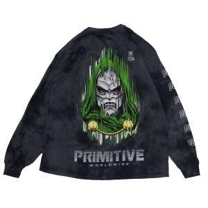 PRIMITIVE プリミティブ ドゥーム MARVEL マーベルコミック PJ DOOM L/S TEE 長袖Tシャツ カットソー 黒 ブラック|our-s