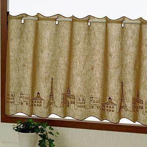 エッフェル カフェカーテン 巾120cm×丈90cm|ousama-c