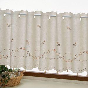 マリス カフェカーテン アイボリー 巾150x丈45cm|ousama-c
