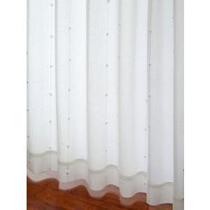 カーテン 白いポンポンがかわいいミラーレースカーテン アイボリー巾100cm×丈133cm  2枚組/在庫品/OUL0230|ousama-c