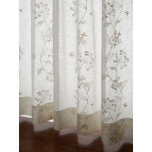 レースカーテン 草花刺繍カーテン ベージュS 1枚/100サイズ/OUL1203|ousama-c