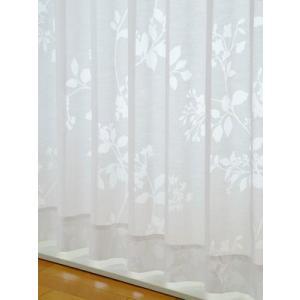 カーテン リーフと花柄シルエットのオパールプリントレースカーテン 生地サンプル/100サイズ/OUL1206/送料無料|ousama-c