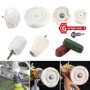 電動ドリルやインパクトレンチなどで使用可能 アルミホイール磨きなど 金属研磨 綿バフ9点セット OD...