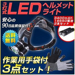 ヘルメット用ヘッドライト(強力CreeチップT6採用)アウトドア向け5点セット|outdoorgear