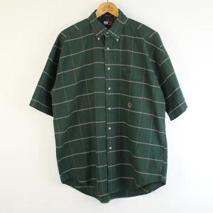【古着】トミー・ヒルフィガー チェックシャツ 90年代 ボタンダウン 半袖 グリーン系 メンズXL n000099|outfit-vintage