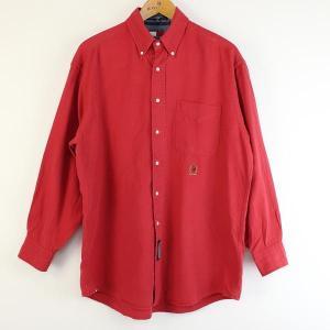 【古着】トミー・ヒルフィガー 無地シャツ 90年代 ボタンダウン 長袖 レッド系 メンズXL n000100|outfit-vintage