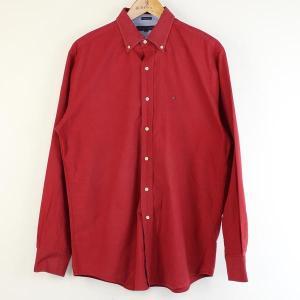 【古着】 TOMMY HILFIGER トミー・ヒルフィガー 無地シャツ 90年代 ボタンダウン 長袖 レッド系 メンズL n000102|outfit-vintage