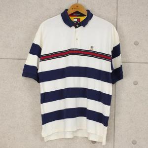 【古着】 トミー・ヒルフィガーボーダーポロシャツ 90年代 刺繍・ワッペン ホワイト系 メンズXL n000115 outfit-vintage