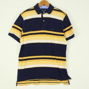【古着】 トミー・ヒルフィガーボーダーポロシャツ 90年代 刺繍・ワッペン イエロー系 メンズM n000116 outfit-vintage