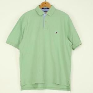【古着】 トミー・ヒルフィガー無地ポロシャツ 90年代 ワンポイント刺繍 グリーン系 メンズXL 【中古】 n000120 outfit-vintage