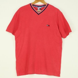 【古着】 トミー・ヒルフィガーワンポイントTシャツ 90年代 Vネック ワンポイント刺繍 レッド系 メンズL n000121|outfit-vintage