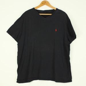 【古着】 ラルフローレン無地Tシャツ 90年代 Vネック 刺繍 ブラック系 メンズXL以上 【中古】 n000123|outfit-vintage