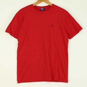 【古着】 RALPH LAUREN ラルフローレン無地Tシャツ 90年代 刺繍 レッド系 メンズM 【中古】 n000124|outfit-vintage