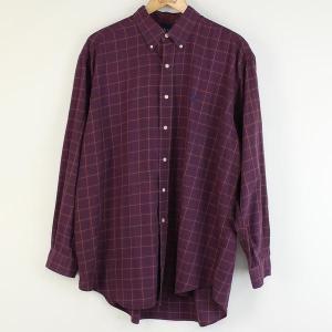 【古着】 ラルフローレン チェックシャツ 90年代 ボタンダウン 長袖 ワイン系 メンズXL以上 【中古】 n000128|outfit-vintage