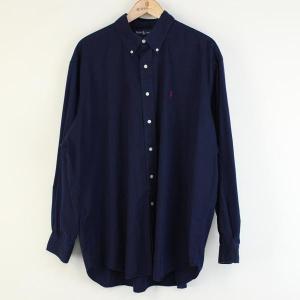 【古着】 RALPH LAUREN ラルフローレン 無地シャツ 90年代 ボタンダウン 長袖 ネイビー系 メンズXL以上 n000132|outfit-vintage