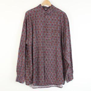 【古着】 シルクシャツ 総柄 長袖 グレー系 メンズL 【中古】 n000477|outfit-vintage