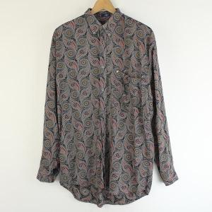 【古着】 ポリシャツ 総柄 長袖 グレー系 メンズL 【中古】 n000499|outfit-vintage