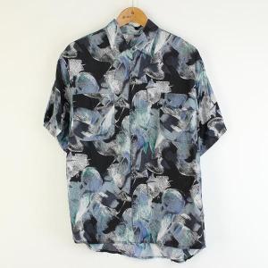 【古着】 シルクシャツ 総柄 半袖 ブラック系 メンズXL以上 【中古】 n000750|outfit-vintage