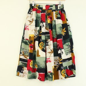 【古着】 花柄スカート プリーツ ロング丈 ホワイト系 レディースL 【中古】 n000831 outfit-vintage