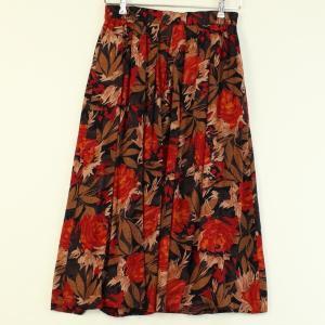 【古着】 花柄スカート プリーツ ロング丈 ブラック系 レディースM 【中古】 n000834 outfit-vintage