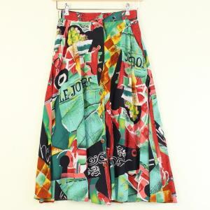 【古着】 花柄スカート ボタンダウン ロング丈 ブラック系 レディースM 【中古】 n000845 outfit-vintage