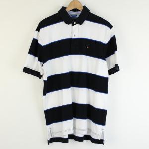 【古着】 TOMMY HILFIGER トミー・ヒルフィガー ボーダーポロシャツ ワンポイント刺繍 ブラック系 メンズXL以上 【中古】 n001060 outfit-vintage