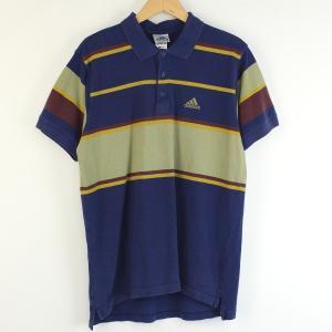 【古着】 adidas アディダス ボーダーポロシャツ ワンポイント刺繍 ネイビー系 メンズM 【中古】 n001064 outfit-vintage
