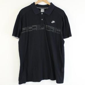 【古着】 NIKE ナイキ 無地ポロシャツ プリント ワンポイント刺繍 ブラック系 メンズXL 【中古】 n001065 outfit-vintage