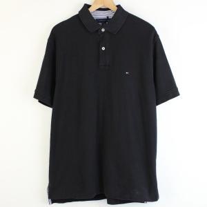 【古着】 TOMMY HILFIGER トミー・ヒルフィガー 無地ポロシャツ ワンポイント刺繍 ブラック系 メンズL 【中古】 n001067 outfit-vintage