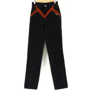 【古着】 レディースデニムパンツ 切替えデザイン 80年代 テーパード ブラック系 レディースW27 【中古】 n001571|outfit-vintage