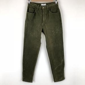 【古着】 Guess ゲス テーパードデニムパンツ カラーデニム 裾ジップアップ オリーブ系 レディースW29 【中古】 n002090|outfit-vintage