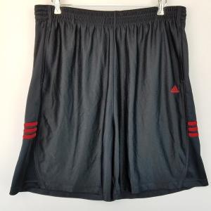 【古着】 adidas アディダス ジャージショートパンツ ワンポイント刺繍 ウエストゴム ブラック系 メンズXL以上 n002159|outfit-vintage