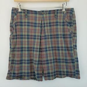 【古着】 TOMMY HILFIGER トミー・ヒルフィガー ショートパンツ チェック柄 グリーン系 メンズW34 【中古】 n002175|outfit-vintage